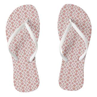 coral geometric pattern thongs