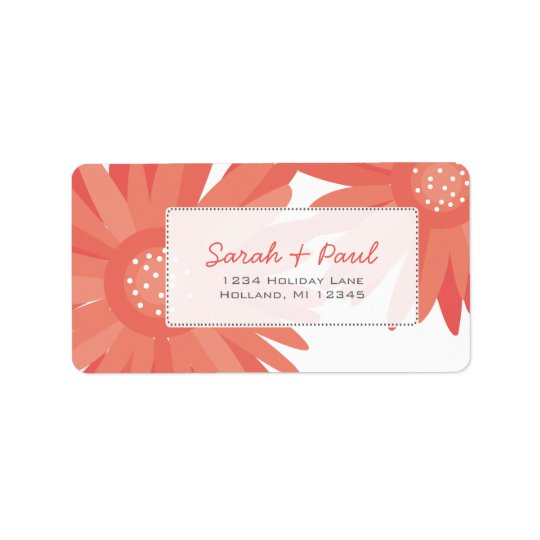 Coral Gerber Flowers Return Address Label