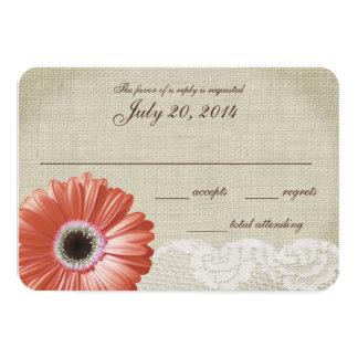 Coral Gerbera Daisy and Lace Wedding Response Card