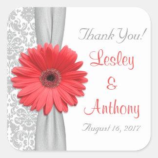 Coral Gerbera Daisy Grey Damask Wedding Thank You Square Sticker