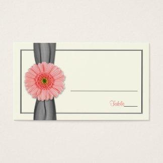 Coral Gerbera Daisy Grey Ribbon Wedding Place Card