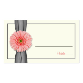Coral Gerbera Daisy Grey Ribbon Wedding Place Card Double-Sided Standard Business Cards (Pack Of 100)