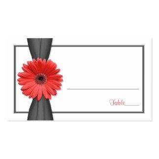 Coral Gerbera Daisy Grey Ribbon Wedding Place Card Business Card Template