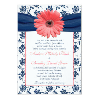 Coral gerbera daisy invitations announcements zazzle for Royal blue and coral wedding invitations