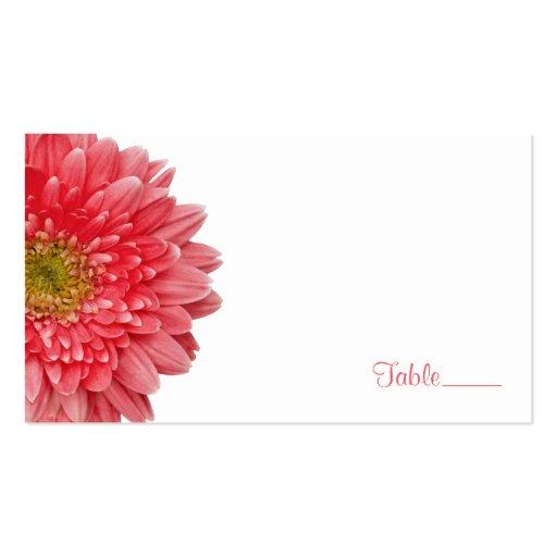 Coral Gerbera Gerber Daisy Wedding Place Card Business Card Template