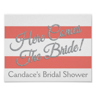 Coral, Giltter and Stripes Bride Poster