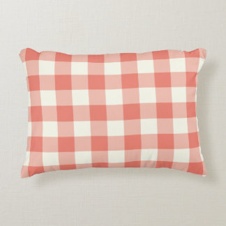 Coral Gingham Pattern Accent Pillow