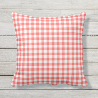 Coral Gingham Pattern Outdoor Pillows