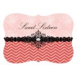 Coral Glitter Chevron & Damask Sweet16 Invitation 13 Cm X 18 Cm Invitation Card