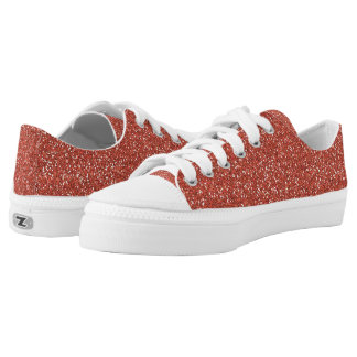 Coral Glitter Low Top Shoes Printed Shoes