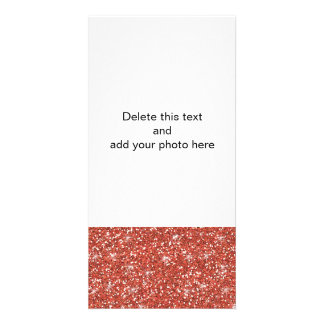 Coral Glitter Printed Photo Card