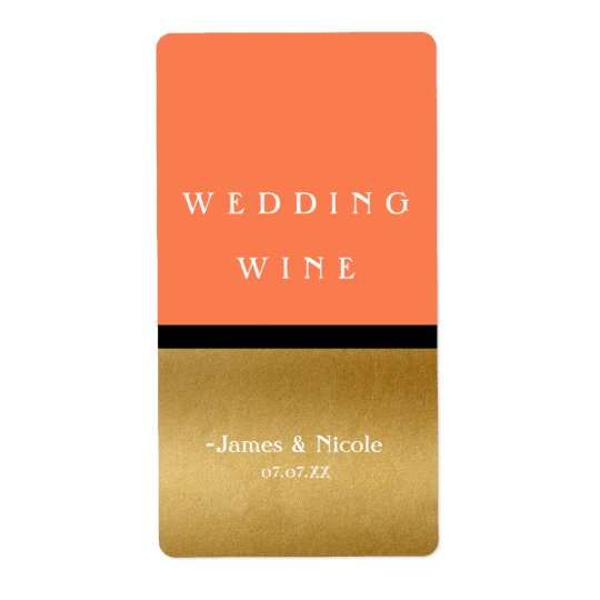 Coral Gold & Black Modern Glam Chic Wine Label Shipping Label