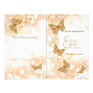 Coral gold butterfly wedding program 21.5 cm x 28 cm flyer