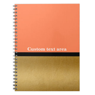 Coral & Gold Modern Glam Journal Notebook