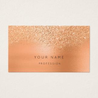 Coral Gold Peach Blush Glitter Metallic MInimal Business Card