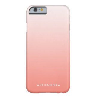 Coral Gradient Ombre Personalized Barely There iPhone 6 Case