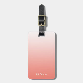 Coral Gradient Ombre Personalized Luggage Tag
