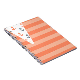 Coral Gray Anchor Nautical Stripe Cute Trendy Spiral Notebooks