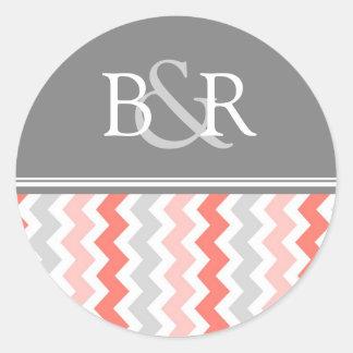 Coral Gray Chevrons Monogram Envelope Seal Round Sticker