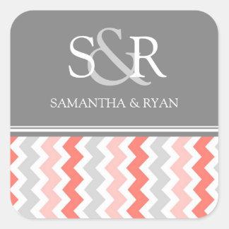 Coral Gray Chevrons Monogram Envelope Seal Square Sticker