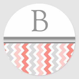 Coral Gray Chevrons Monogram Envelope Seal Round Stickers