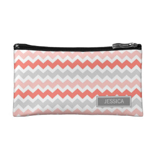 Coral Gray Chevrons Pattern Custom Name Bag Cosmetic Bag