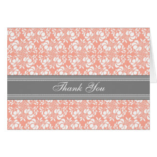 Coral Gray Damask Baby Shower Thank You Card
