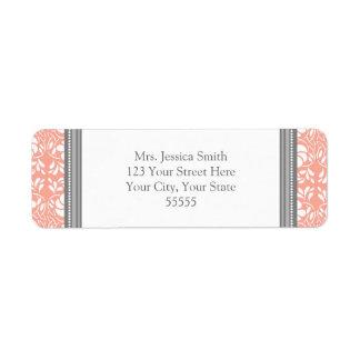 Coral Gray Damask Custom Return Address Labels