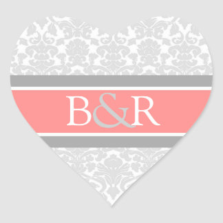 Coral Gray Damask Monogram Envelope Seal Heart Sticker