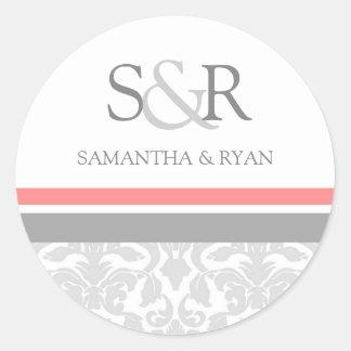 Coral Gray Damask Monogram Envelope Seal Round Sticker