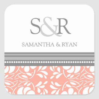 Coral Gray Damask Monogram Envelope Seal Square Sticker