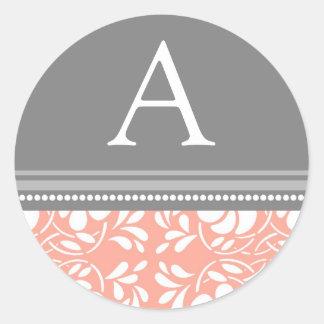 Coral Gray Damask Monogram Envelope Seal Stickers