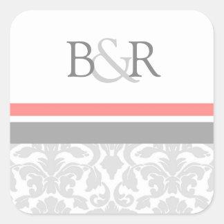 Coral Gray Damask Monogram Envelope Seal Square Stickers