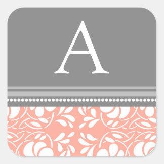 Coral Gray Damask Monogram Envelope Seal Sticker