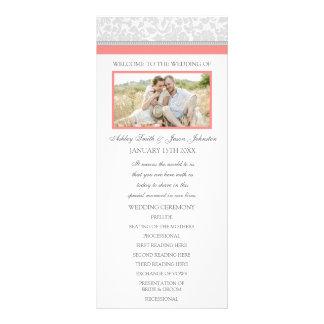 Coral Gray Damask Photo Wedding Program Rack Card