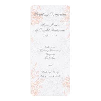 Coral Gray Floral Vintage Wedding Program
