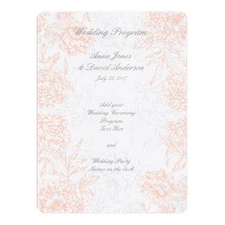 Coral Gray Floral Vintage Wedding Program 17 Cm X 22 Cm Invitation Card