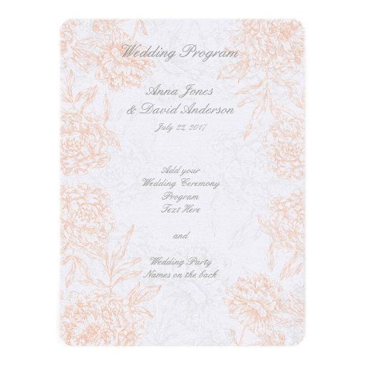 Coral Gray Floral Vintage Wedding Program Custom Announcement