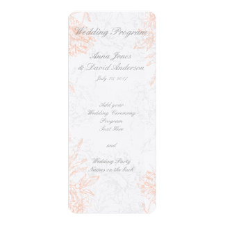 Coral Gray Floral Vintage Wedding Program Personalized Invites