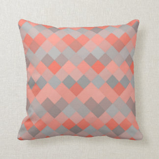 Coral & Gray Mosaic Diamond Geometric Pattern Cushion