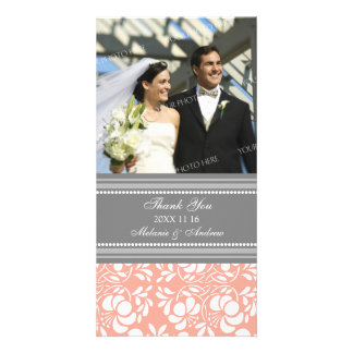 Coral Gray Thank You Wedding Photo Cards