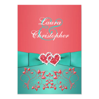 Coral Green Floral Joined Hearts Wedding Invite 2