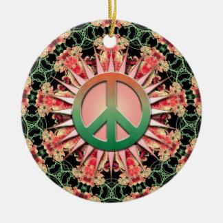 Coral Green Flower Circle Keepsake Peace Ornament
