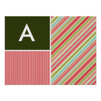 Coral & Green Stripes; Striped Print