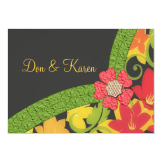 Coral Green & Yellow Flowering Garden Size A7 Card