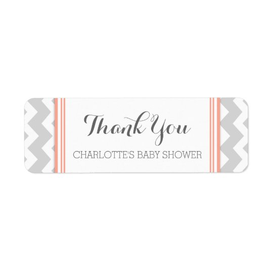 Coral Grey Chevron Baby Shower Favour Labels