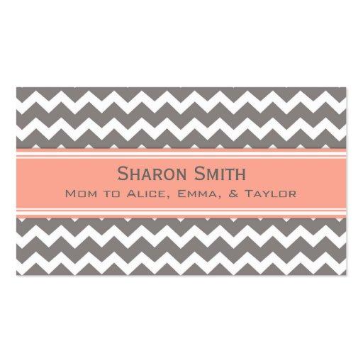 Coral Grey Chevron Retro Mom Calling Cards Business Cards