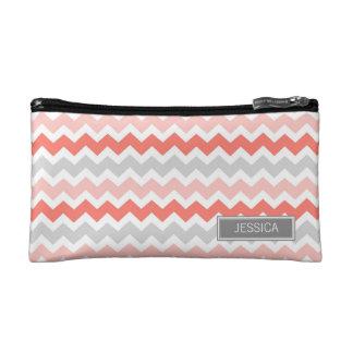 Coral Grey Chevrons Pattern Custom Name Bag Makeup Bags