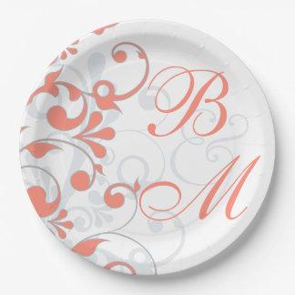 Coral Grey Floral Monogram Wedding Bridal Shower Paper Plate