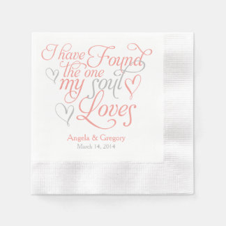 Coral Grey My Soul Loves Heart Wedding Disposable Napkin